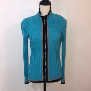 BELLDINI turquoise black rhinestone zip sweater